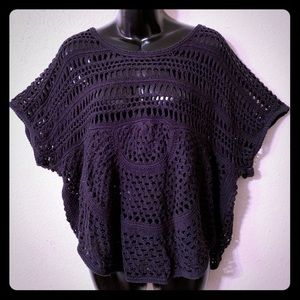 Mudd Black Short Sleeve Knit Cover Up Top Size L
